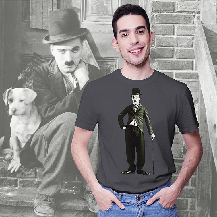 Camiseta Masculina Unissex Charlie Chaplin (Cinza) - EV