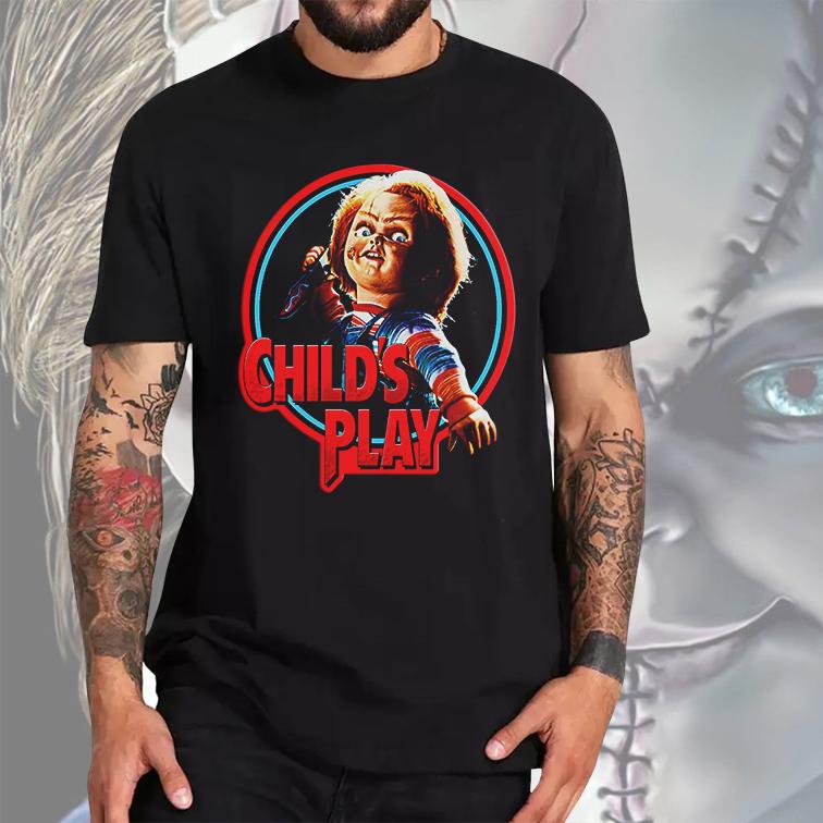 Camiseta Masculina Unissex Child's Play: Chucky Brinquedo Assassino (Preta) - EV