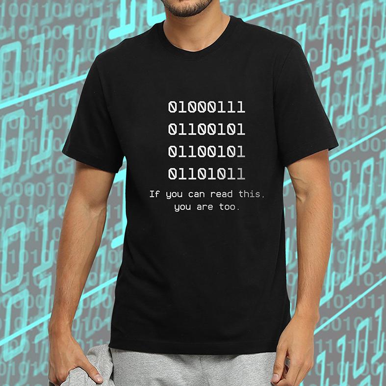 Camiseta Masculina Unissex Código Binário Nerd Binary Se Você Pode Ler Isto Você Também Está (Preta) - EV