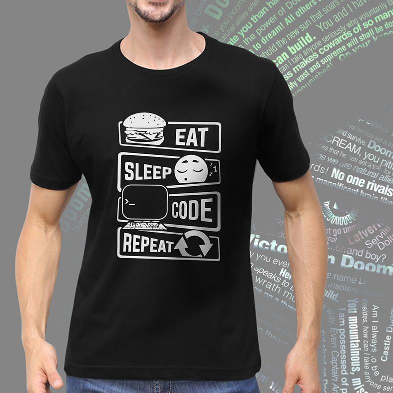Camiseta Masculina Unissex Comer Dormir Código Repetir Eat Sleep Code Repeat Programação Dev (Preta) - EV
