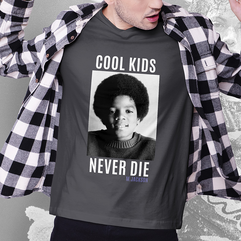 Camiseta Masculina Unissex Cool Kids Never Die Michael Jackson (Cinza Chumbo) - EV