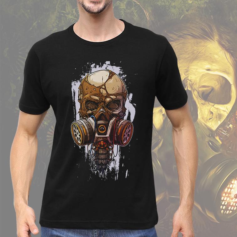 Camiseta Masculina Unissex Crânio Mascara de Gás Caveira Skull (Preta) - EV