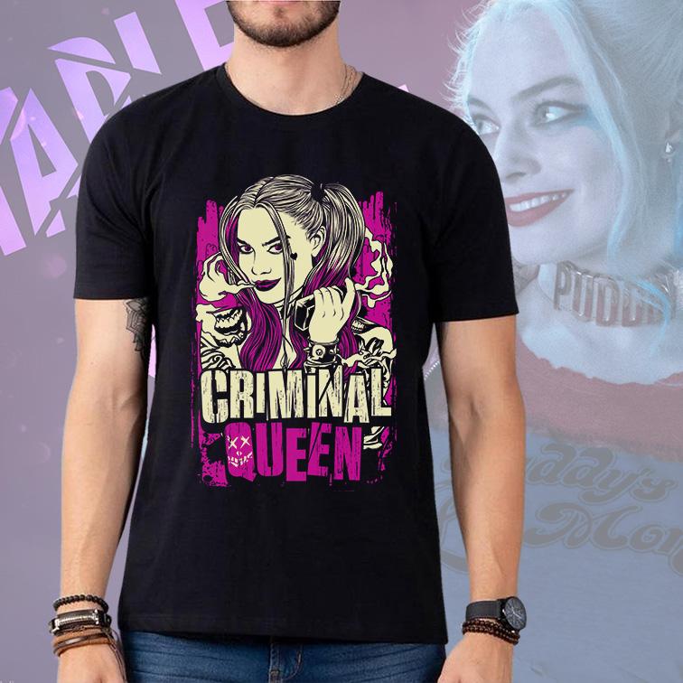 Camiseta Masculina Unissex Criminal Queen Arlequina Aves de Rapina (Preta) - EV