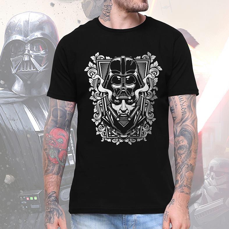 Camiseta Masculina Unissex Darth Vader Anakin Skywalker Capacete Helmet: Star Wars (Preta) - EV