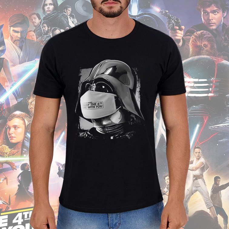 Camiseta Masculina Unissex Darth Vader Covid 19 May The 4Th Be With You: Star Wars (Preta) - EV