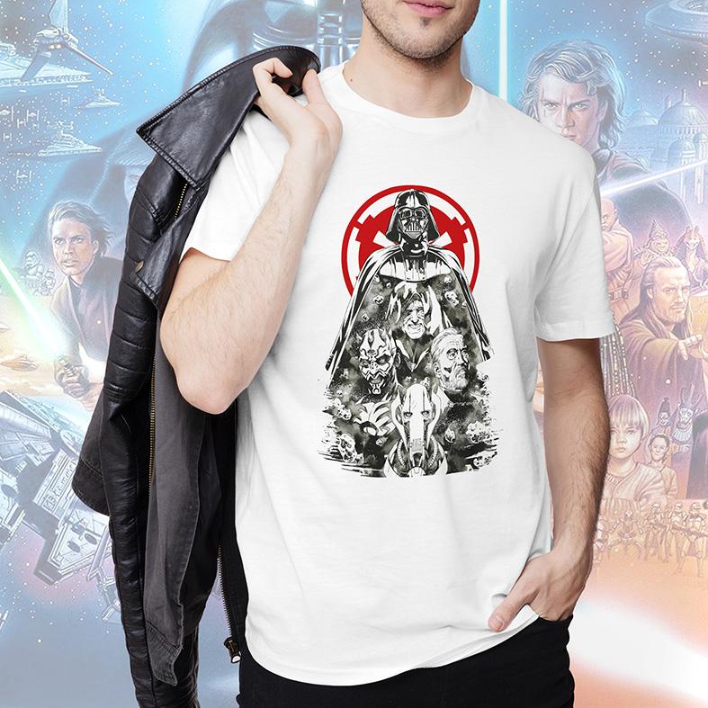 Camiseta Masculina Unissex Darth Vader Darth Maul Imperador Palpatine Obi-Wan Kenobi Personagens Star Wars (Branca) - EV