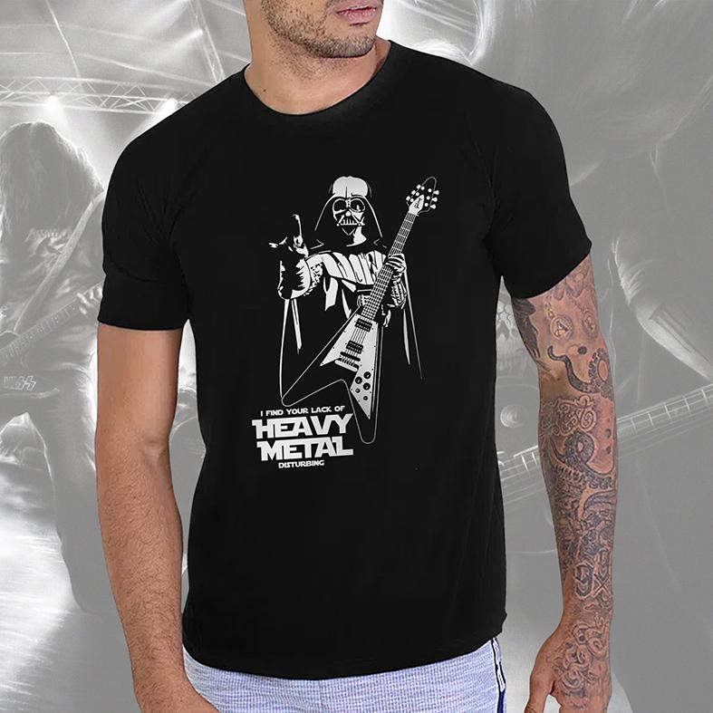 Camiseta Masculina Unissex Darth Vader Guitar I Find Your Lack Of Heavy Metal Disturbing: Star Wars (Preta) - EV