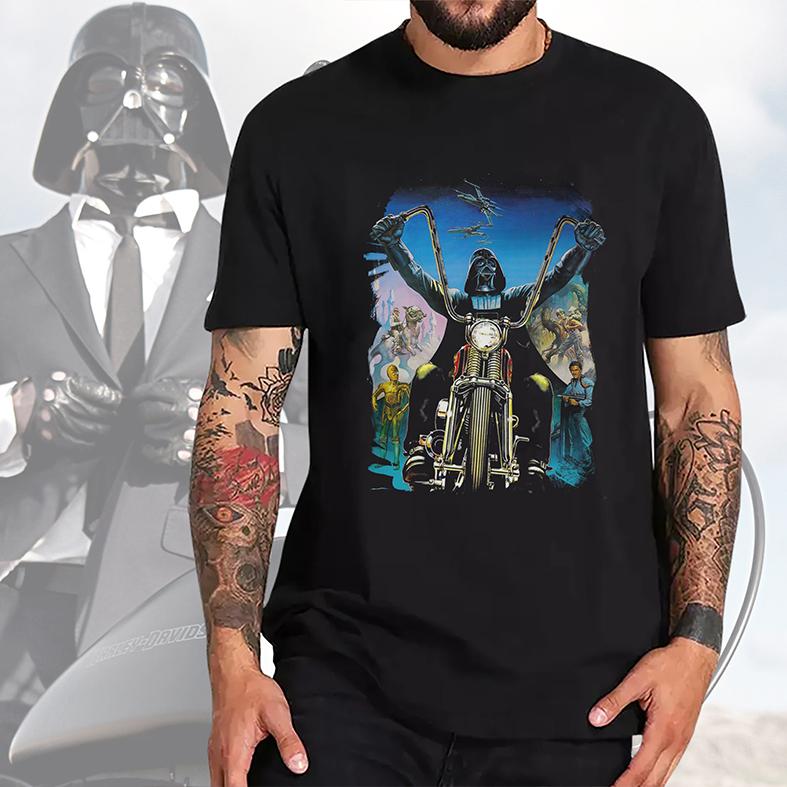 Camiseta Masculina Unissex Darth Vader Motocicleta Harley Davidson Motorcycle: Star Wars (Preta) - EV