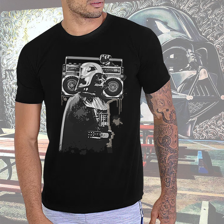 Camiseta Masculina Unissex Darth Vader Street Art Graffiti Music: Star Wars (Preta) - EV