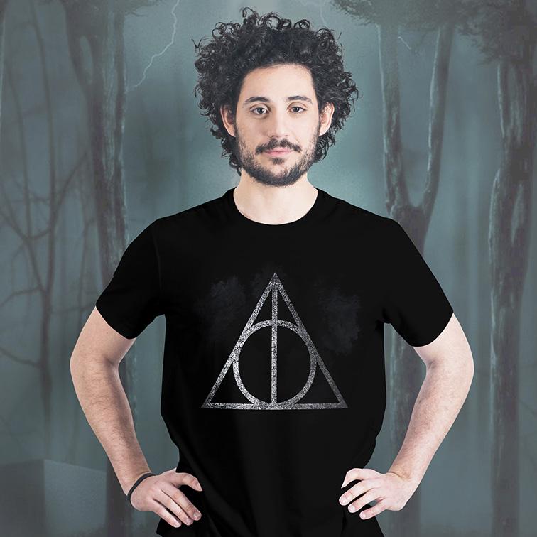 Camiseta Masculina Unissex Deathly Hallows: Harry Potter (Preta) - EV