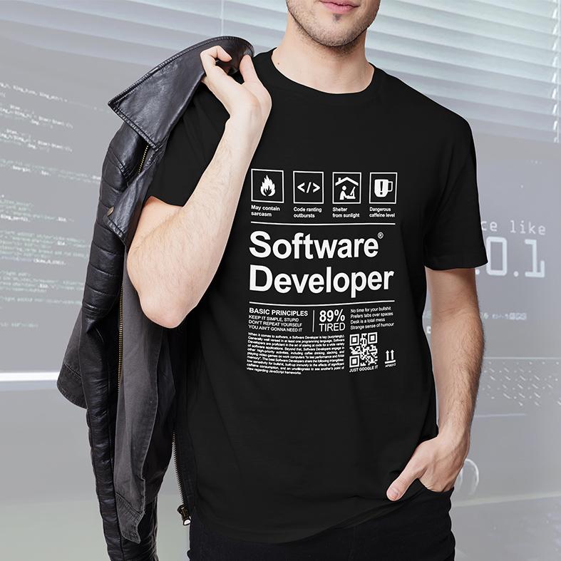 Camiseta Masculina Unissex Desenvolvedor De Software Programação Desenvolvimento Linguagens HTML JAVA (Preta) - EV