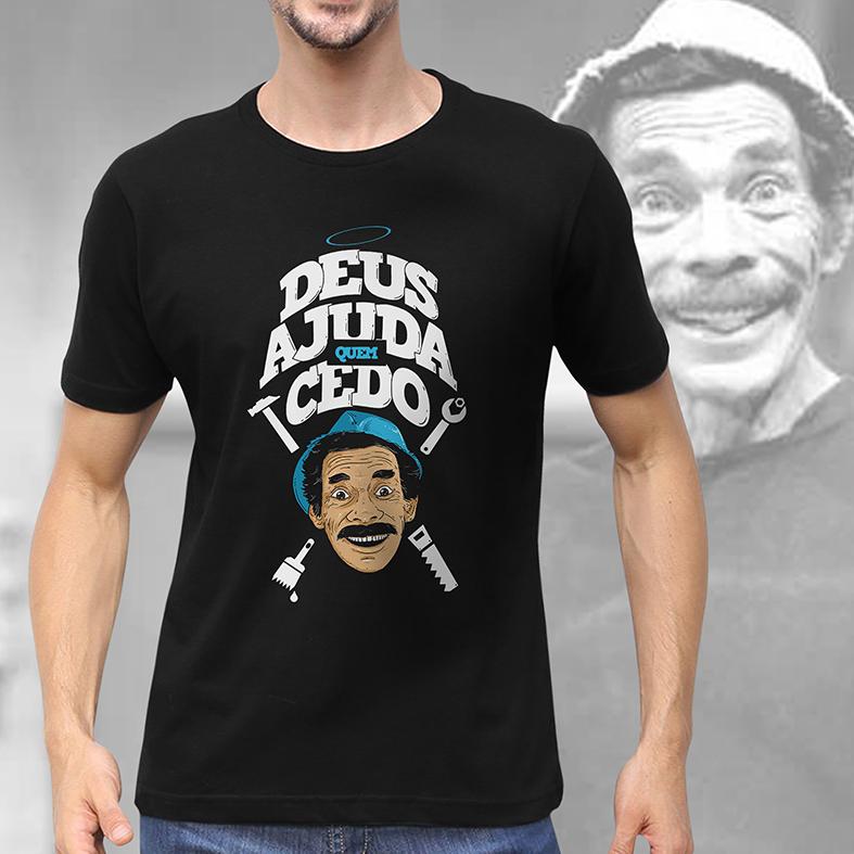 Camiseta Masculina Unissex Deus Ajuda Quem Cedo Madruga Ramón Valdés Seu Madruga: Chaves (Preta) - EV