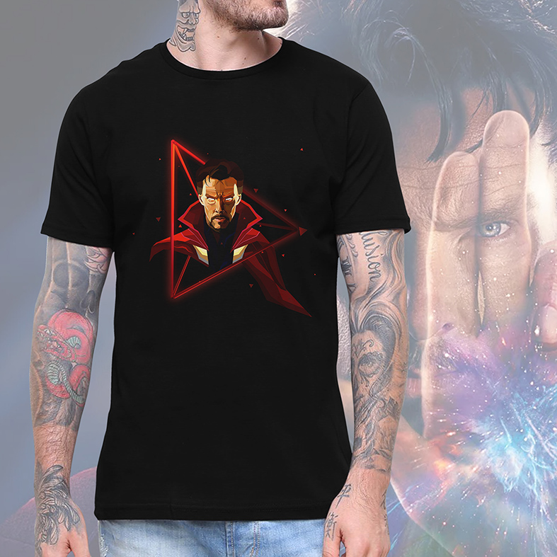 Camiseta Masculina Unissex Doctor Strange Doutor Estranho Herói Disney+ (Preta) - EV