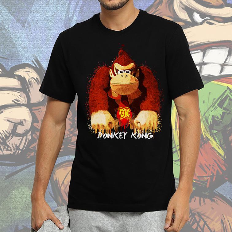 Camiseta Masculina Unissex Donkey Kong Print Colors (Preta) - EV