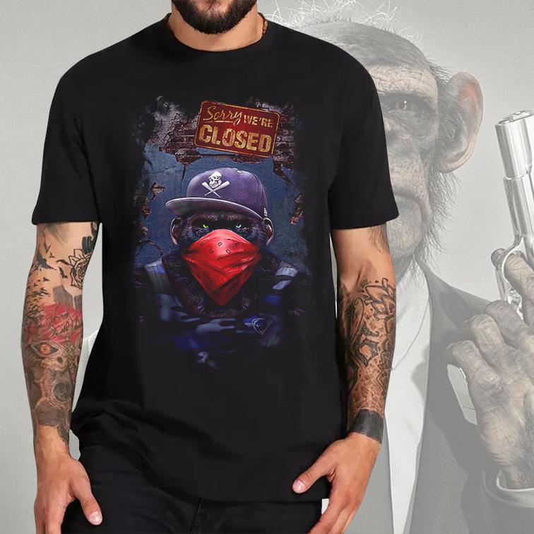 Camiseta Masculina Unissex Dope Monkey Gangster Sorry We're Closed Macaco Preta Tamanho: G