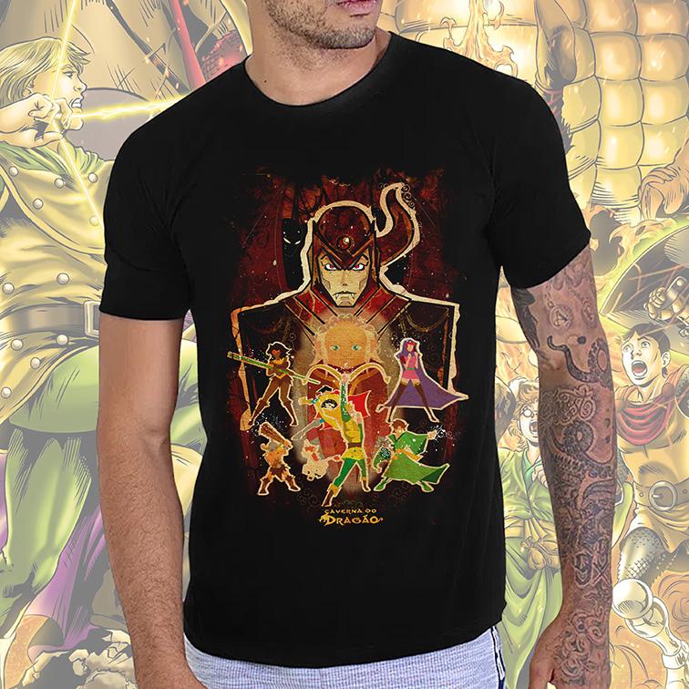 Camiseta Masculina Unissex Dungeons & Dragons: Caverna do Dragão Mestre dos Magos, Vingador, Bobby, Presto (Preta) - EV