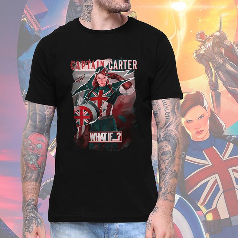 Camiseta Masculina Unissex E Se Capitã Margaret Carter What If...? Captain Carter Marvel Disney+ (Preta) - EV