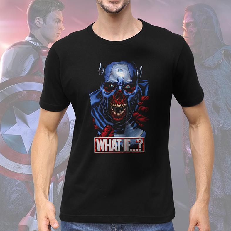 Camiseta Masculina Unissex E Se...? Capitão América Caveira Vermelha Captain America Red Skull What If...? Marvel Studios (Preta) - EV