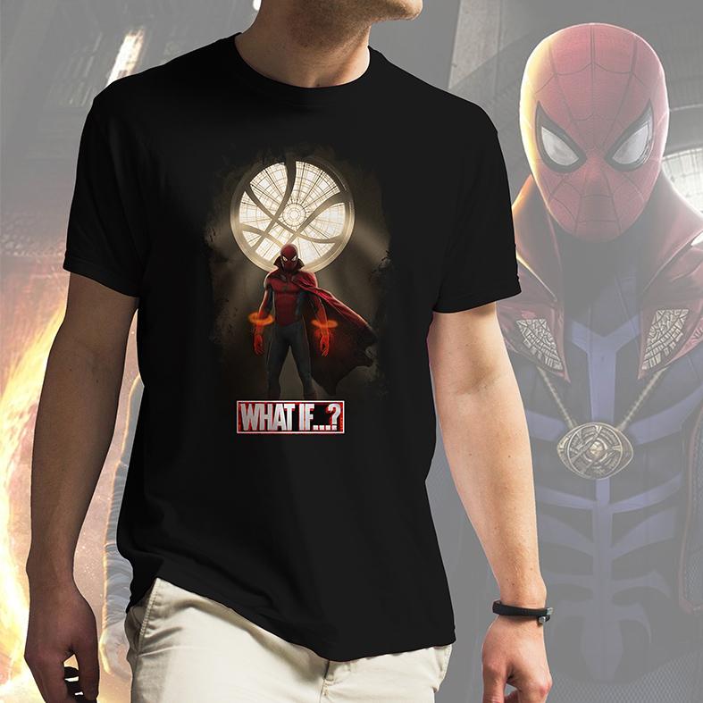 Camiseta Masculina Unissex E Se...? Homem Aranha Doutor Estranho Spider Man Doctor Strange What If...? Marvel Studios (Preta) - EV