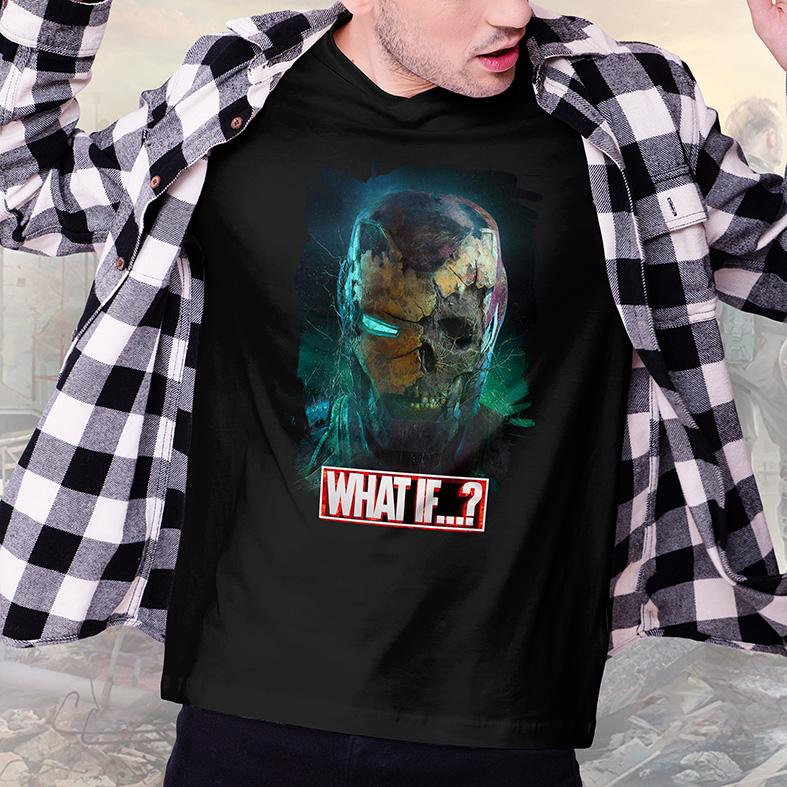 Camiseta Masculina Unissex E Se...? Homem De Ferro Zumbi Iron Man What If...? Marvel Studios (Preta) - EV