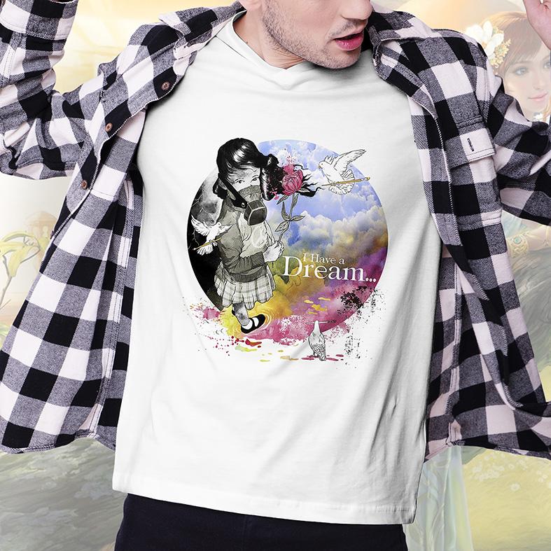 Camiseta Masculina Unissex Eu Tenho Um Sonho Garota Mascara De Gás Passáro Branco Flor Rosa Pintura I Have (Branca) - EV