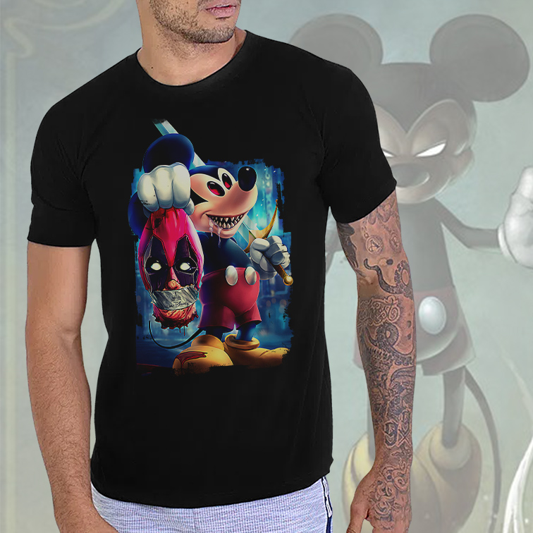 Camiseta Masculina Unissex Evil Mickey Mouse And Minnie Cartoon Deadpool (Preta) - EV