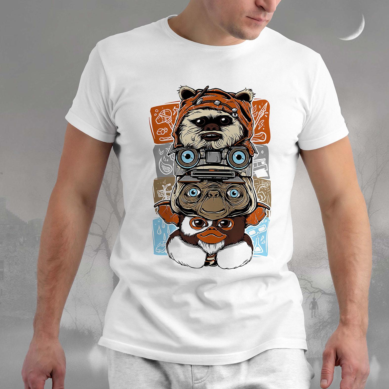 Camiseta Masculina Unissex Ewoks Johnny Five Et Extraterrestre Mogwai Gremlins Monsters Anos 80s Horror (Branca) - EV