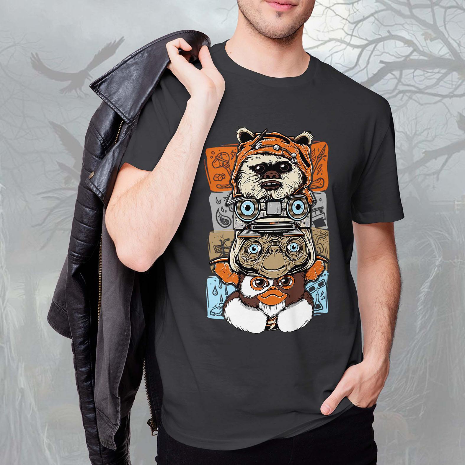Camiseta Masculina Unissex Ewoks Johnny Five Et Extraterrestre Mogwai Gremlins Monsters Horror (Cinza Chumbo) - EV