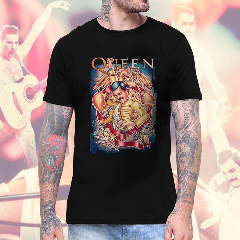 Camiseta Masculina Unissex Freddie Mercury Queen Rock Legends Poster (Preta) - EV