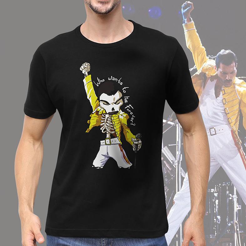 Camiseta Masculina Unissex Freddie Mercury Quem Quer Viver Para Sempre Caveira Rock Skull: Queen (Preta) - EV