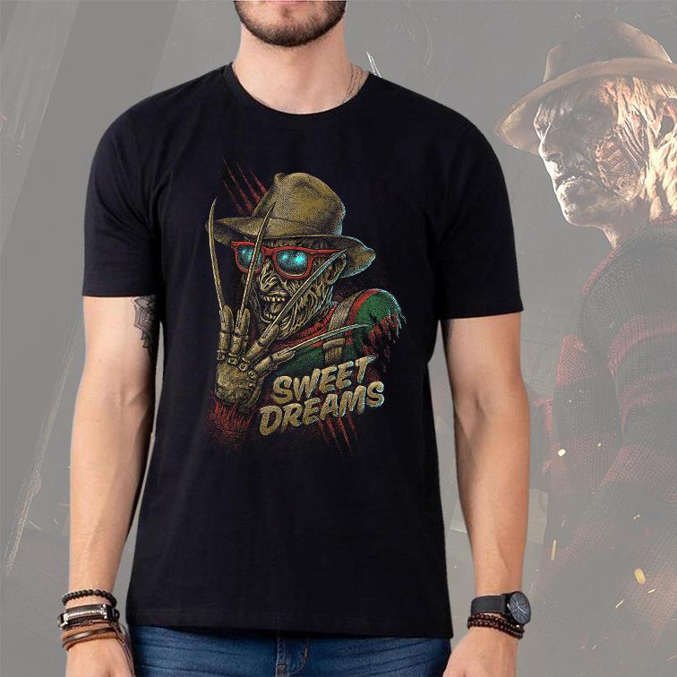 Camiseta Masculina Unissex Freddy Krueger Sweet Dreams Bons Sonhos (Preta) - EV