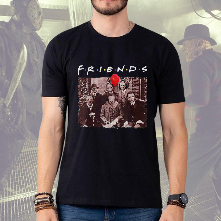 Camiseta Masculina Unissex Friends Halloween Horror Freddy Jason Saw Hannibal It Mayers (Preta) - EV