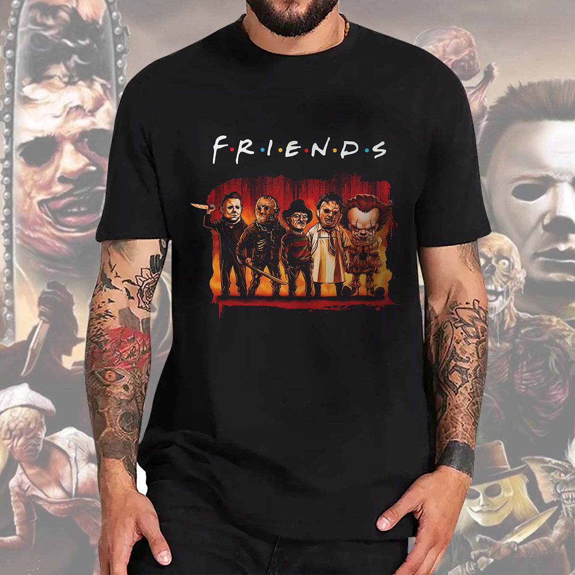 Camiseta Masculina Unissex Friends Halloween Horror Serial Killers Terror Personagens (Preta) - EV
