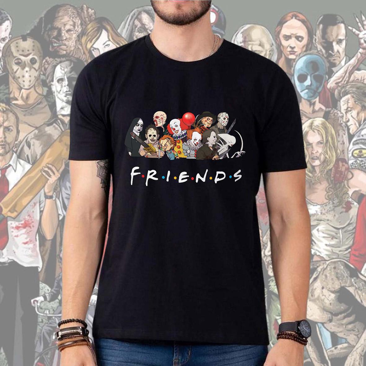 Camiseta Masculina Unissex Friends Halloween Horror Serial Killers Terror (Preta) - EV