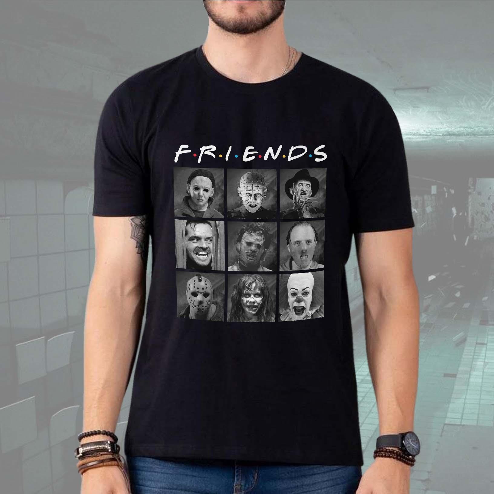 Camiseta Masculina Unissex Friends Horror Myers Hellraiser Freddy Iluminado Leatherface Hannibal Fred (Preta) - EV