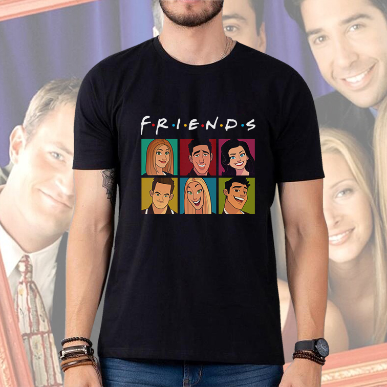 Camiseta Masculina Unissex Friends Personagens (Preta) - EV