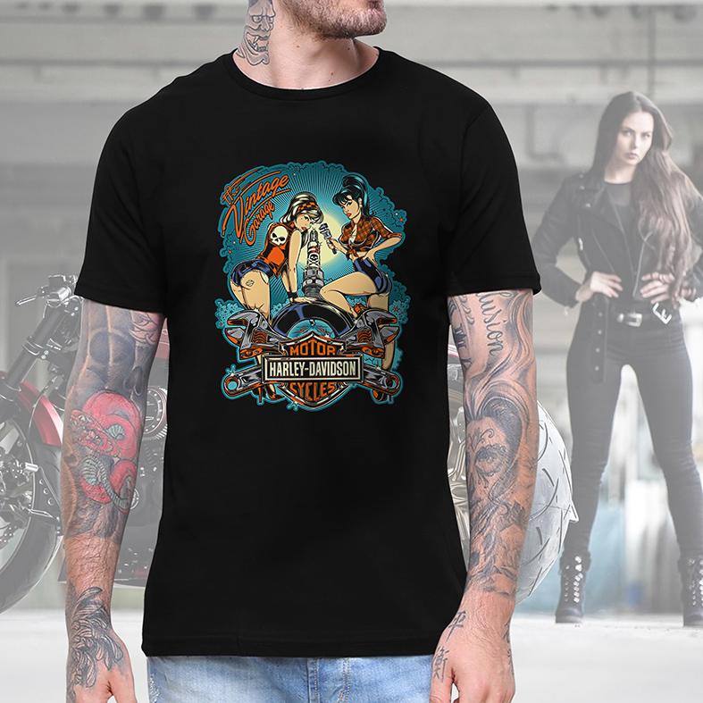 Camiseta Masculina Unissex Garagem Motor Harley Davidson Cycles Mecanica The Vintage Garage (Preta) - EV
