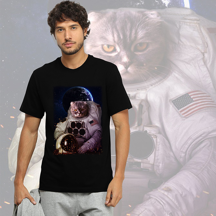 Camiseta Masculina Unissex Gato Astronauta: Nasa Espaço (Preta) - EV