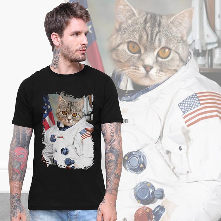 Camiseta Masculina Unissex Gato Astronauta: Nasa EUA (Preta) - EV