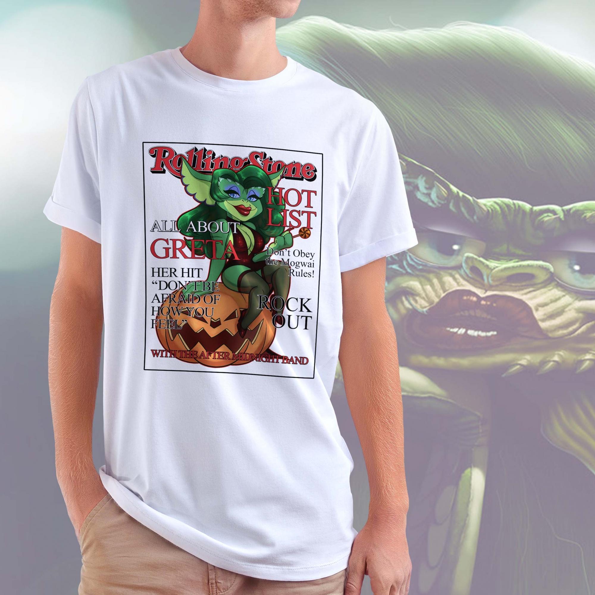 Camiseta Masculina Unissex Greta Gremlin Gremlins RollingStone (Branca) - EV