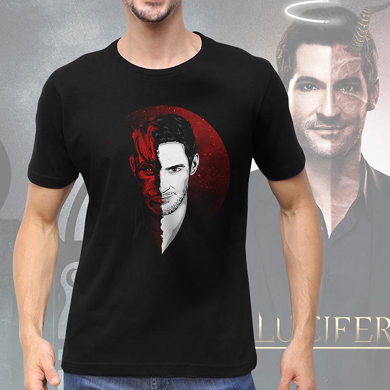 Camiseta Masculina Unissex Half Demon Half Man The Devil Lucifer Morningstar Netflix (Preta) - EV