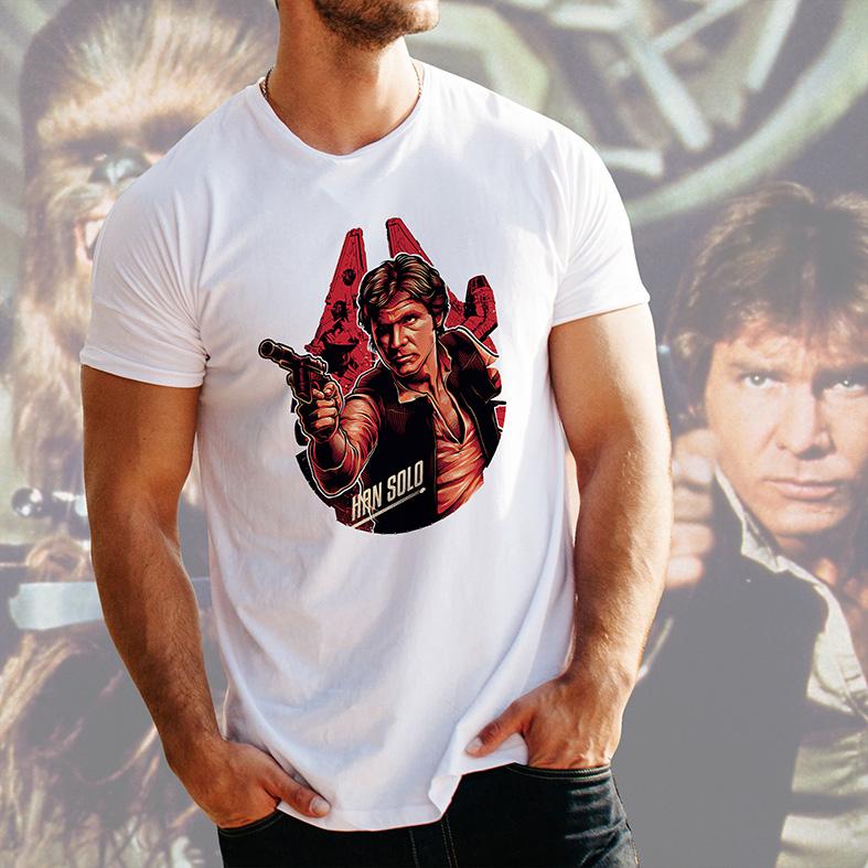 Camiseta Masculina Unissex Han Solo Harrison Ford: Star Wars (Branca) - EV