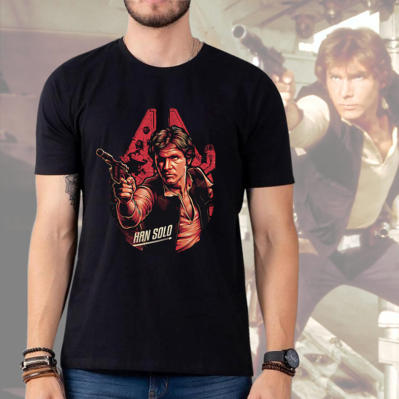 Camiseta Masculina Unissex Han Solo Harrison Ford: Star Wars (Preta) - EV