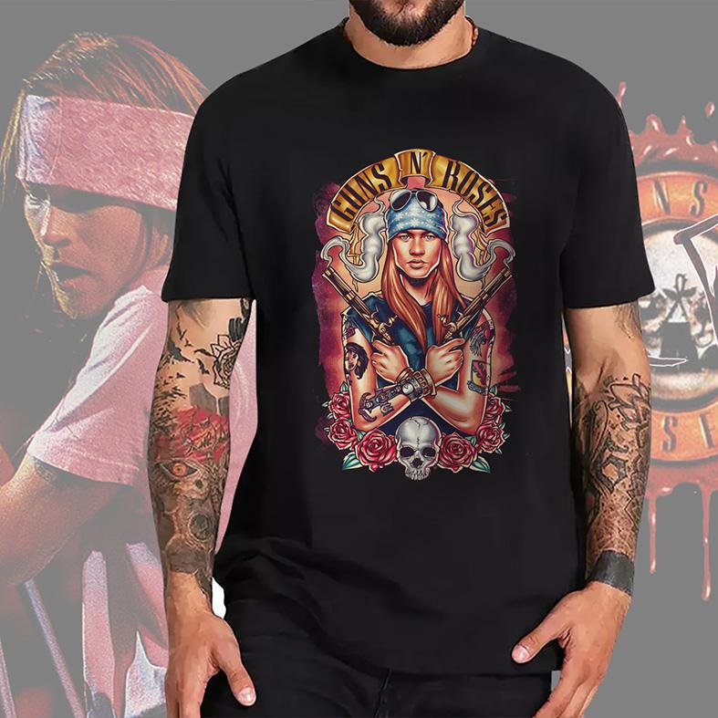 Camiseta Masculina Unissex Hard Rock Legends Axl Rose Guns N' Roses Caveira Rosas Rock And Roll (Preta) - EV