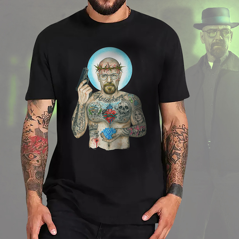 Camiseta Masculina Unissex Heisenberg Breaking Bad Sr Walter White Tattoo Cristal Cookin (Preta) - EV