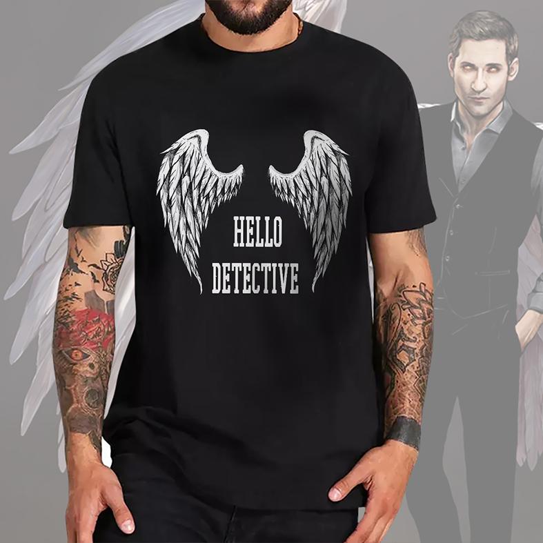 Camiseta Masculina Unissex Hello Detective The Devil Lucifer Morningstar (Preta) - EV