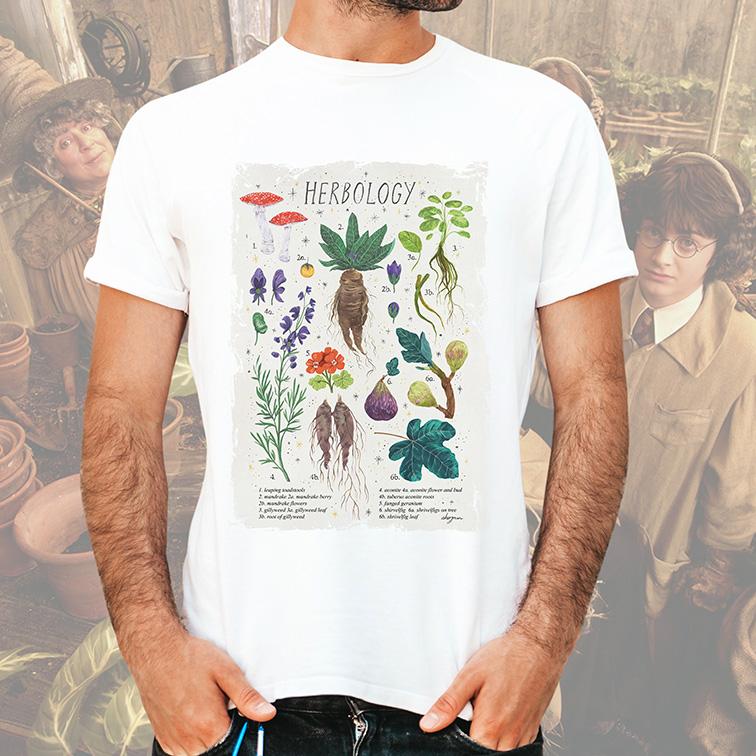 Camiseta Masculina Unissex Herbology Hogwarts School Of Witchcraft And Wizardry: Harry Potter (Branca) - EV