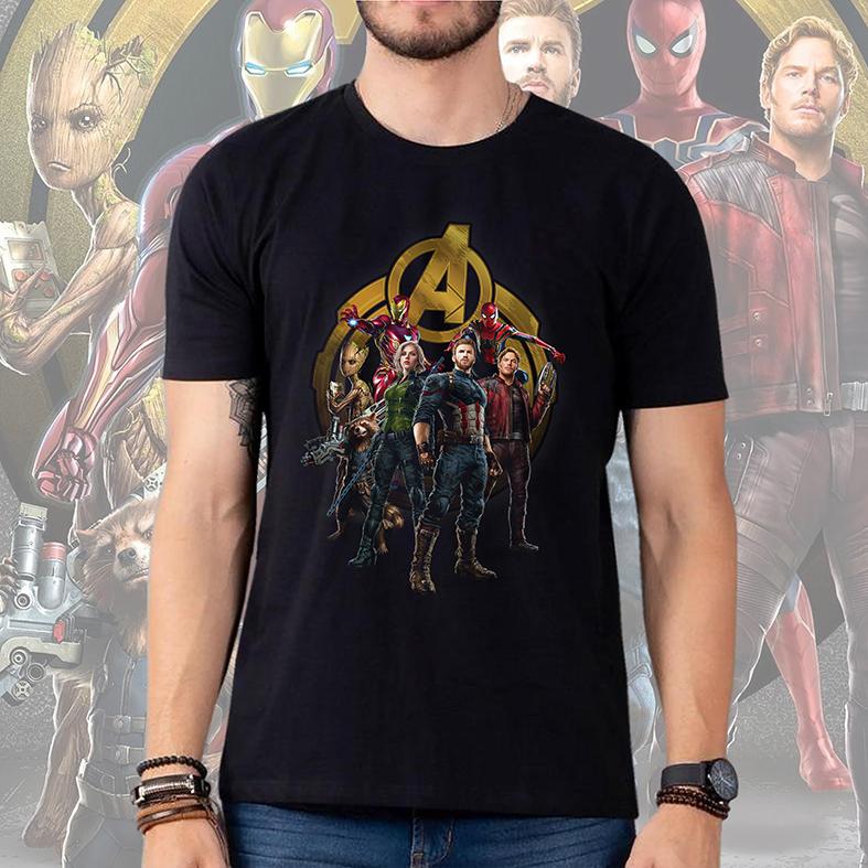 Camiseta Masculina Unissex Homem De Ferro Groot Rocket Viúva Negra Capitão América Homem Aranha: Avengers (Preta) - EV