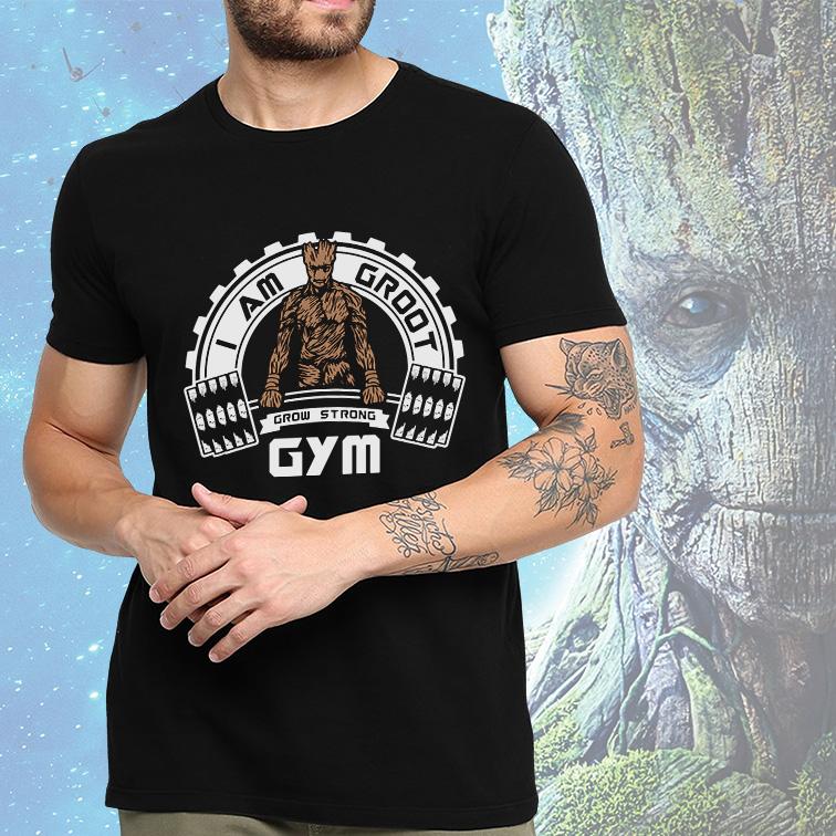Camiseta Masculina Unissex I Am Groot GYM Grow Strong (Preta) - EV