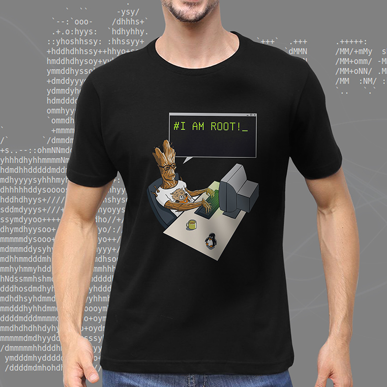 Camiseta Masculina Unissex # I Am Root Groot Guardiões Da Galáxia Dev Desenvolvedor Programador Marvel (Preta) - EV